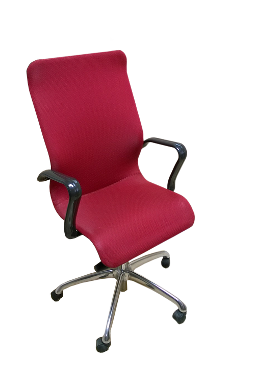 Red Lowback Office Chair With Black Arms