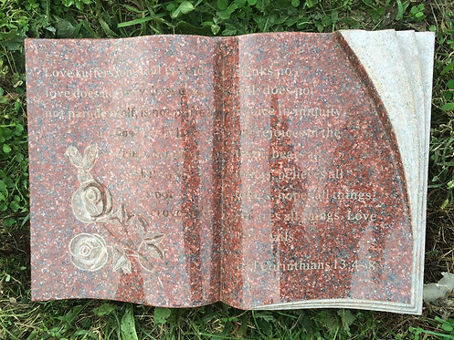 GB-19 India Red Granite Hand Carved Bible