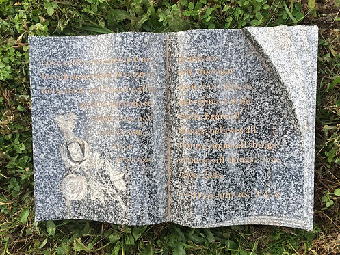 GB-10 Dark Gray Granite Hand Carved Bible