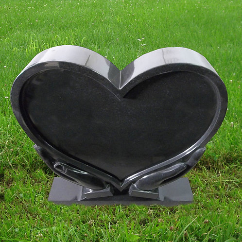 MN-113* Black Granite Heart Hands Stone