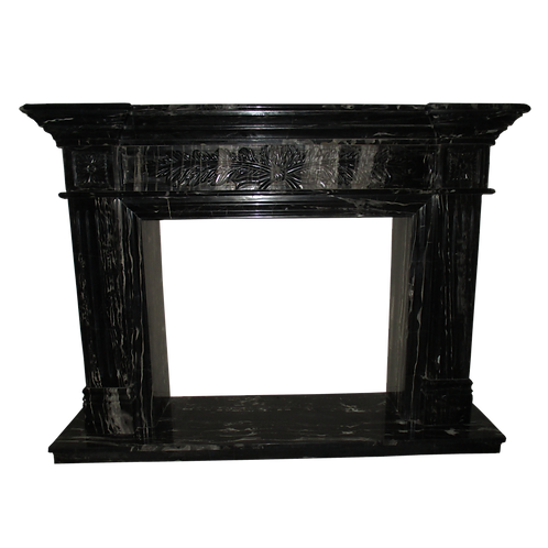 FPS-22 Black and White Marble Fireplace Surround