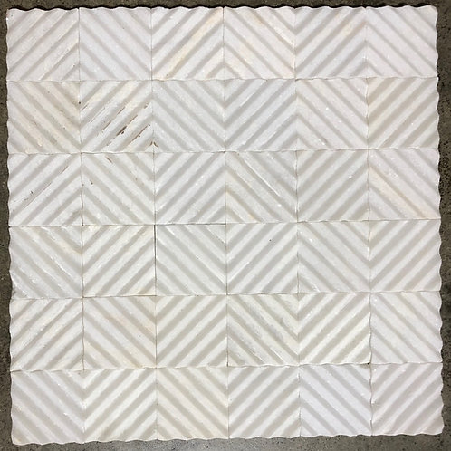 T-32 12x12 Iridescent Sparkle White Concentric Squares 2x2 Natural Stone Tile