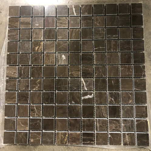 T-01 12x12 Coffee Emperador Dark Brown Marble Mosaic 1x1 Tile