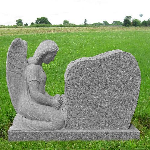 MN-19* Gray Granite Angel Praying Grave Marker