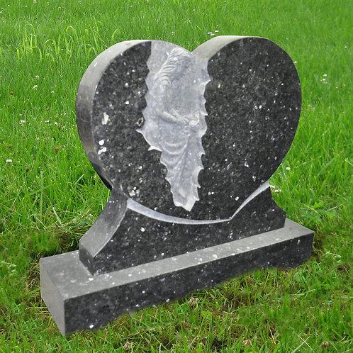 MN-65* Blue Pearl Granite Grave Marker Heart