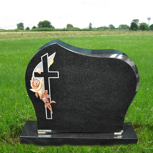 MN-02* Black Granite with Cross and Rose