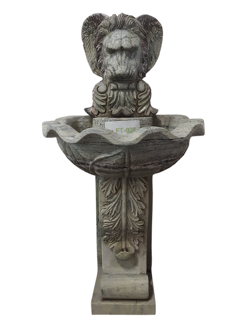 FT-48 Natural Stone Lion Head Wall Fountain