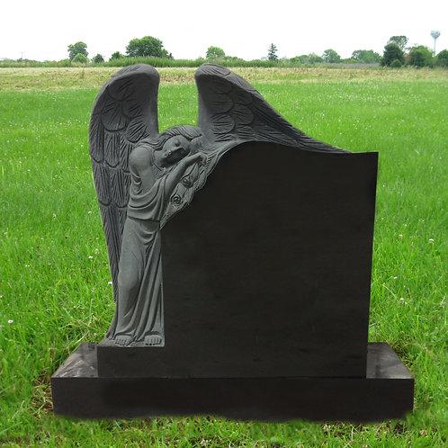 MN-192* Black Granite Leaning Angel Monument