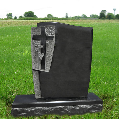 MN-21* Black Granite Monument with Carved Cross