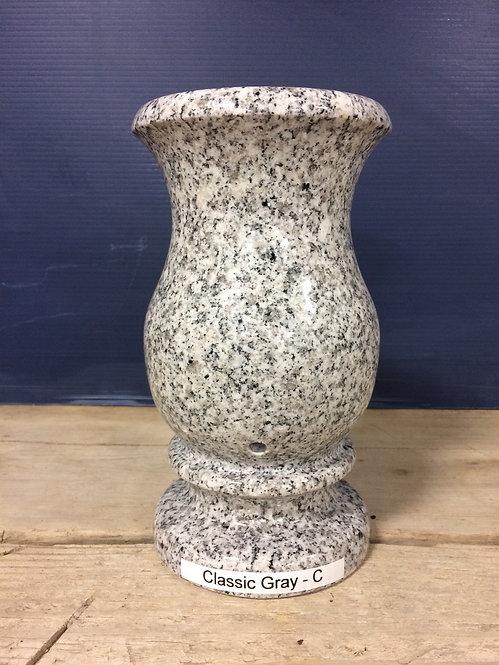 Classic Gray Granite Monument Vase 9x5-C