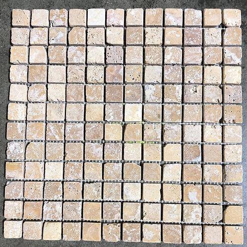 T-33 12x12 Tuscany Gold Mosaic 1x1 Travertine Tile