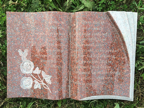 GB-13 India Red Granite Hand Carved Bible