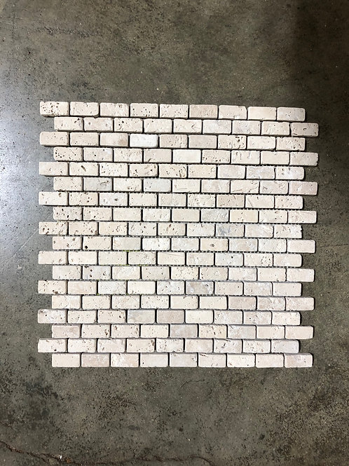 T-30 12x12 Nocce Cream Travertine Mosaic Small Brick Tile