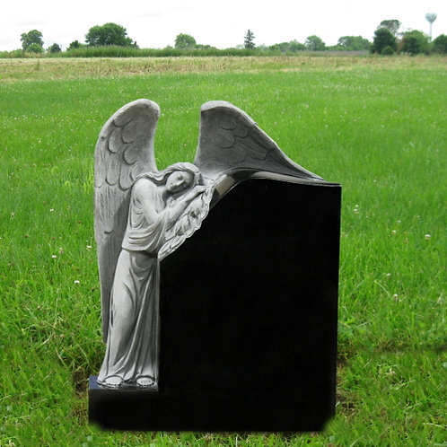 MN-186* Black Granite Leaning Angel Monument