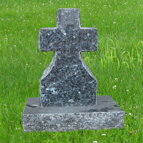 MN-78 Blue Pearl Granite Mini Cross Cemetery Stone