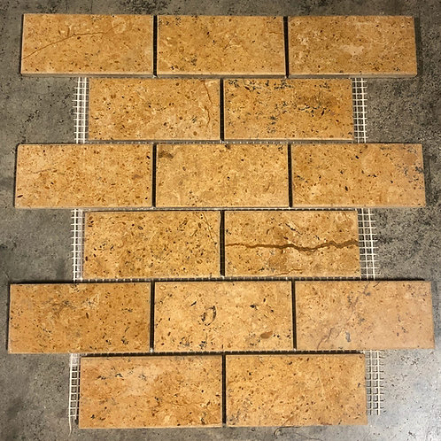 T-09 Arabian Sands Subway Mosaic Meshed Tile 2x4
