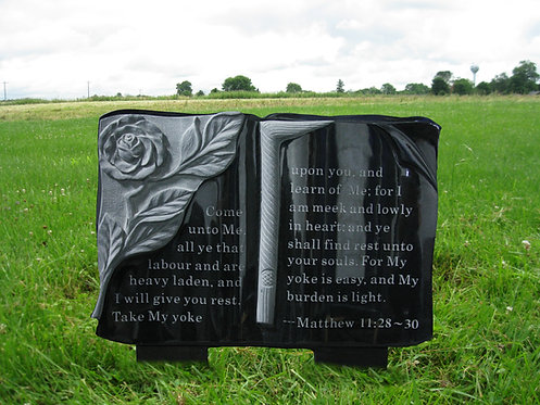 GB-06 Absolute Black Granite Hand Carved Bible