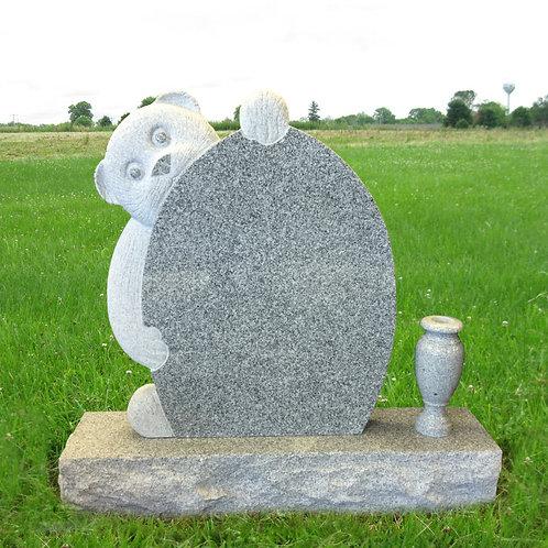 MN-30 Gray Granite Bear Headstone *Special Order*
