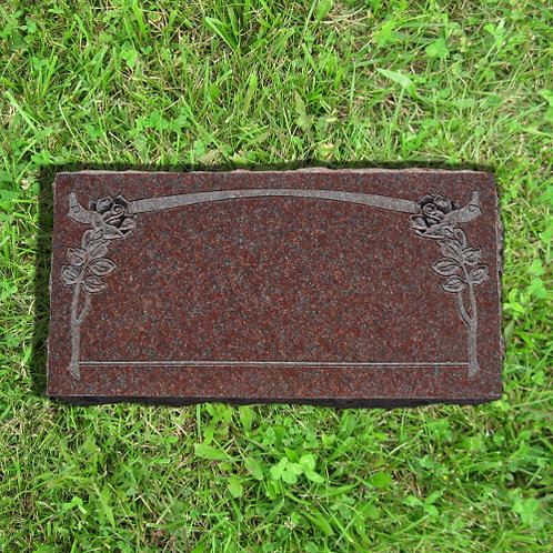 *MN-135* India Red Flat Art Flower Tombstone
