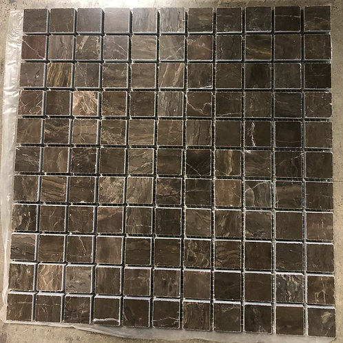 T-01 12x12 Coffee Emperador Dark Brown Marble Mosaic 1x1 Tile