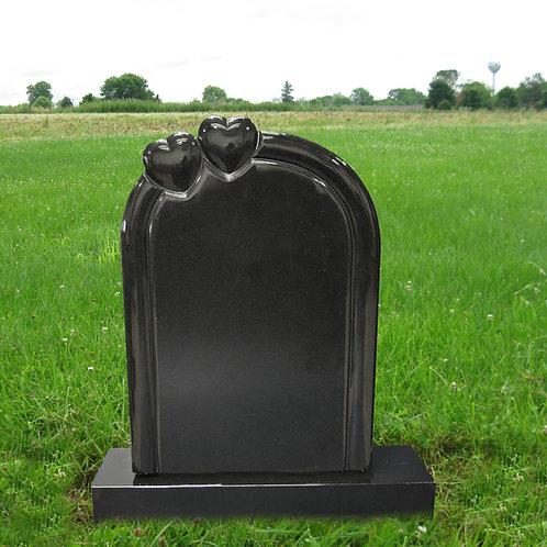MN-15 Black Granite Double Heart Tombstone