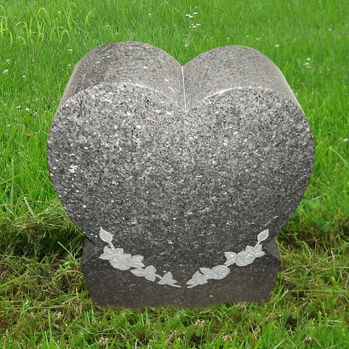 MN-114* Blue Pearl Granite Monument w Flower Carve