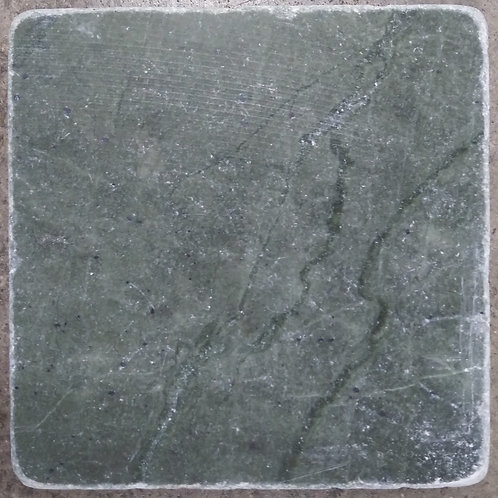 4x4x3/8 Marble Tile Emerald Green Tumbled T-111
