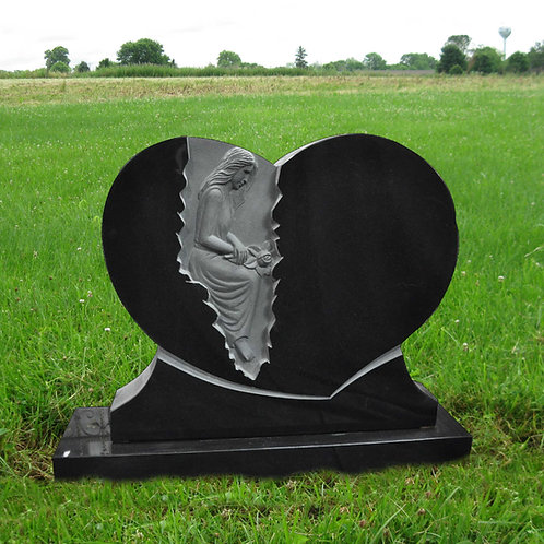 MN-66 Black Carved Granite Heart Cemetery Stone*
