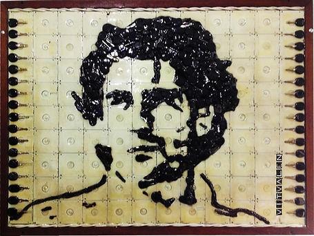 painel, quadro, reciclado, recycle, Ayrton Senna, chaves de carro, disquetes, reuso, reutilização