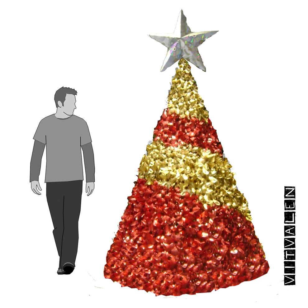 Árvore vermelha e dourada reciclada