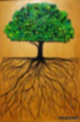 Painél, quadro, obra de arte, árvore, verde, raízes, raíz, natureza, floresta, reciclado, reciclagem
