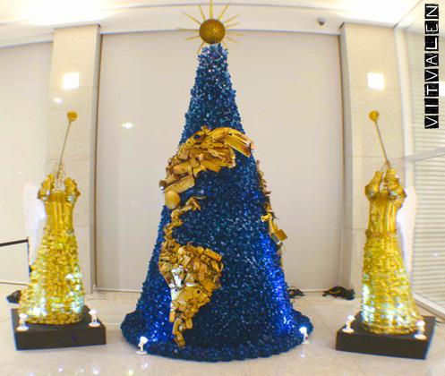 Decoração reciclada árvore e anjos