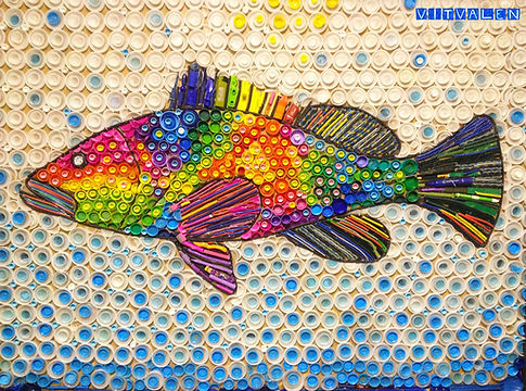Painéis, painel, quadro, obra de arte, peixe, tampas, colorido , cores, arte, sucata, reciclado, reciclagem , recycle