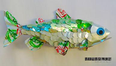 peixe, lata de alumínio, artesanal, artesanato, reciclagem, reciclado, arte moderna, arte contemporânea, masp, água, planeta, mar, mares, rios, peixes, fish, vida