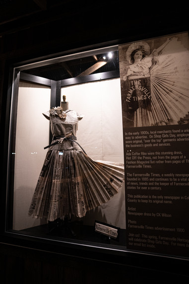 Replica of the Farmersville Times Newspaper Dress circa 1900