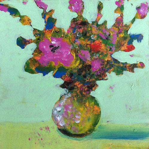 Pink Flower in Round Vase