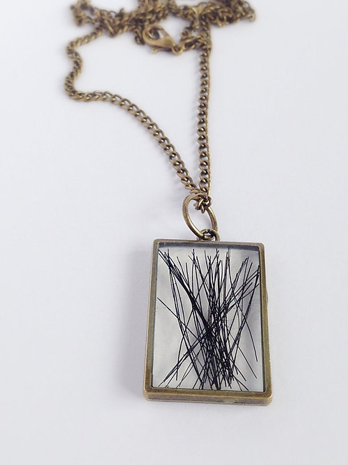 Horse hair rectangle pendant necklace mozeypictures Gallery