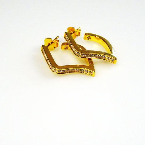 Gold Noghteh Hoop Earring