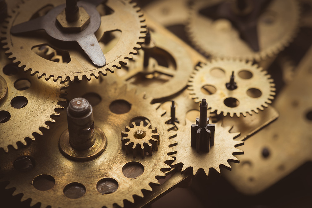 """Gears in a Clock - The clock won't work if one of the gears is """"off"""""""