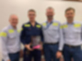 Caption: Shiploading Maintenance Superintendent – Peter Caughey, Electrical Apprentice – Anthony Cobb, Acting Asset Management & Project Services General Manager – Benjamin Hayden & Reliability & Maintenance Manager – Dane Linforth.