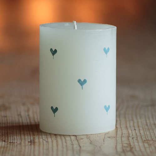 """Blue Heart Scented Hand-Painted 4"""" Pillar Candle"""