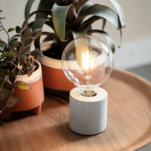 Concrete Table Lamp with Bulb