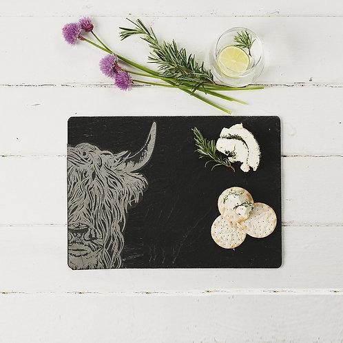Highland Cow Slate Cheese Board
