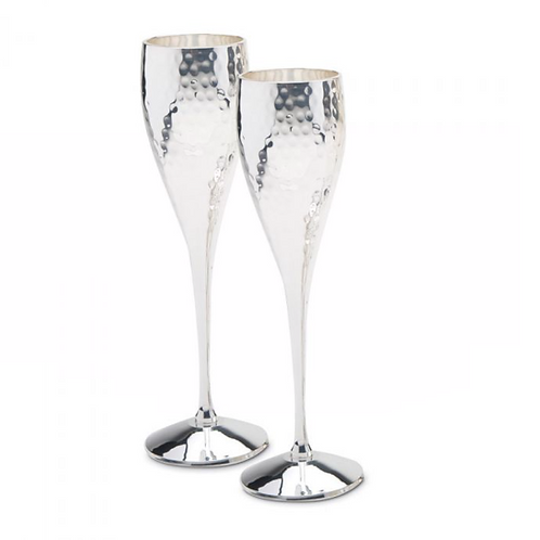 Pair of Hammered Champagne Goblets