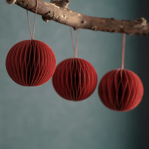 Set of 3 Maddox Round Baubles - Brick Red