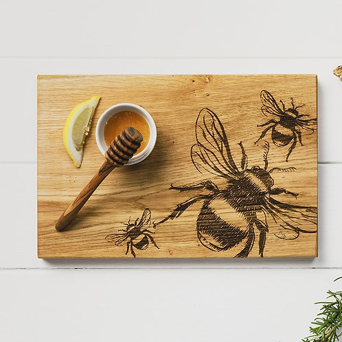 Etched Bees Serving Board