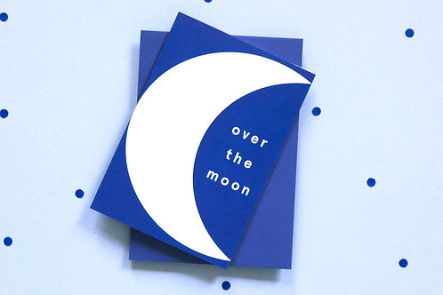 Blue Over the Moon Card