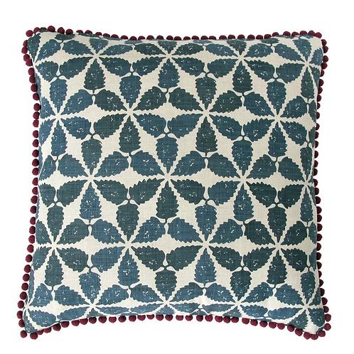 Hand Printed Cushion - Maroc Indigo