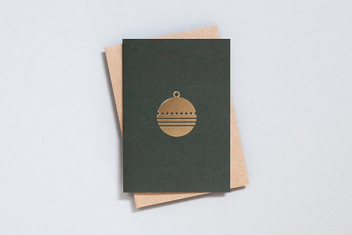 Foil Blocked Bauble Card - Green