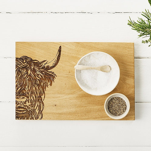 Etched Highland Cow Serving Board